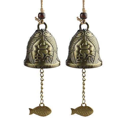 Andux 2 Stück Vintage Windspiele Chinese Fengshui Bell für Hausgarten hängen viel Glück Segen FGFL-01 MEHRWEG (Glückverheißende Fische)