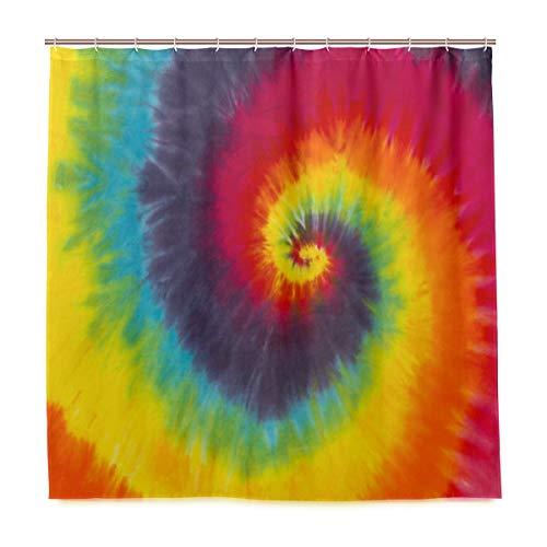 Doshine Wasserdichter Duschvorhang, Batik-Regenbogenfarben, abstraktes dekoratives Polyestergewebe, mit 12 Haken, 182,9 x 182,9 cm