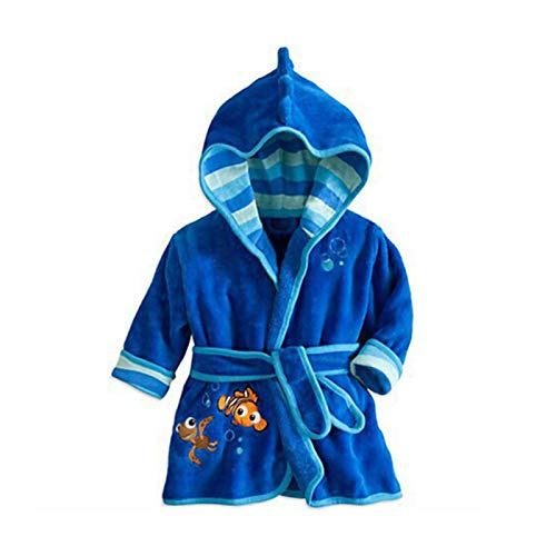 Susanlife LOKKSI - Albornoz unisex con capucha, pijama de franela esponjosa para niños de 1 a 6 años, diseño de tigre de sirena, color azul