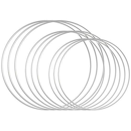 Sntieecr 9 PcS 3 Größen Metall Floral Reifen Kranz Makramee Silber Reifen Ringe für DIY Floral Makramee Reifen, Hochzeit Kranz Dekor, Traumfänger und Makramee Wandbehang Handwerk (15/20 / 25,5 cm)