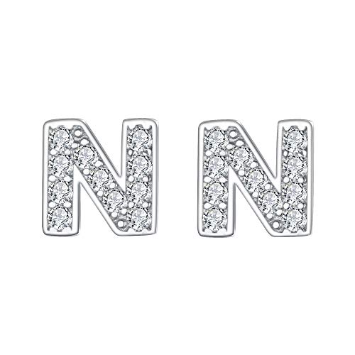 EVER FAITH Women's 925 Sterling Silver Pave Cubic Zirconia Initial Alphabet Letter N Stud Earrings Clear