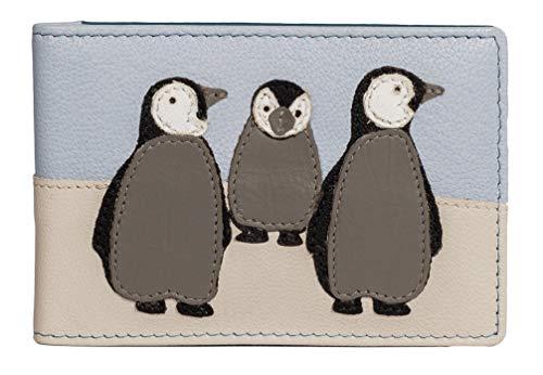 Mala Leather ID - Tarjetero de identificación y Tarjeta de identificación con protección RFID, diseño de pingüino