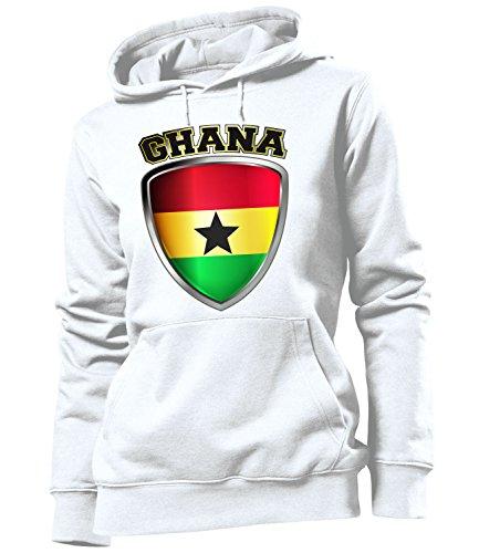 love-all-my-shirts Ghana 4758 Fussball Fanhoodie Frauen Damen Hoodie Pulli Kapuzen Pullover Fanartikel Kapuzenpullover Weiss M