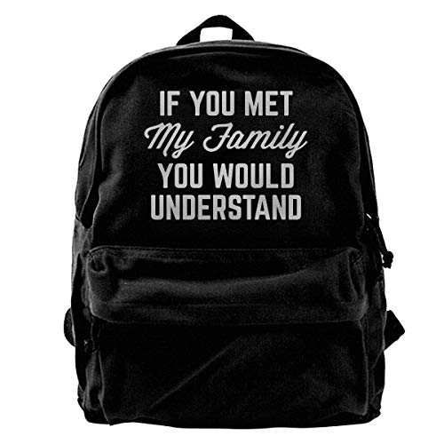 Yuanmeiju School Travel Backpack, Classic Canvas Backpack You Would Understand Unique Print Style,Fits 14 Inch Laptop,Durable,Black