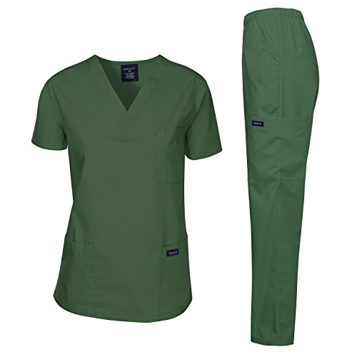 Dagacci Medical Uniform Woman and Man Scrub Set Unisex Medical Scrub Top and Pant, Hunter Green, XXXL