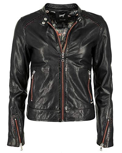 Maze Chaqueta de piel para mujer con cremalleras rojas 42020136, color negro