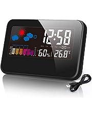 デジタル温湿度計 置き時計 目覚まし時計 時計 温度・湿度計付き 大画面 カレンダー/アラーム/スヌーズ/温度/湿度/最高最低温湿度表示 多機能 乾燥対策 健康管理 USB/電池給電