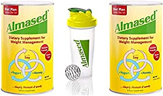 Almased Meal Replacement Shake - Plant Based Protein Powder for Weight Loss - Shake for Weight Management (2 pack +Blender Bottle Shaker and Diet Recipe Book)