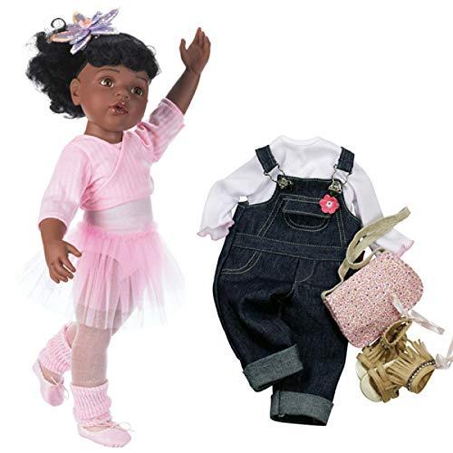Götz 1159850 Hannah beim Ballett Puppe - 50 cm große Ballerina Stehpuppe, Schwarze Haare, braune Augen