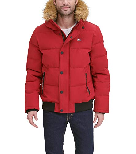 Tommy Hilfiger Men's Quilted Arctic Cloth Snorkel Bomber Jacket with Removable Hood (Standard and Big & Tall), Red, X-Large