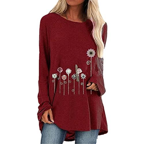 Hinewsa Otoño Impresión Floral Suelta Camisetas Mujeres De Manga Larga Casual Camisetas Más Tamaño Femenino Camisas Ropa Tops, 8910 Rojo Vino, XXXXXL