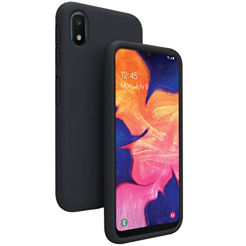 Vinve Liquid Silicone Case for Samsung Galaxy A10e, Gel Rubber Full Body Protection Shockproof Cover Slim Fit Case Drop Protection Case (Black)