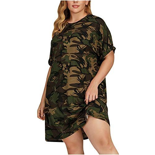 officpb Plus Size Dress for Women,Women's Summer Casual Short Sleeve Camo Print Dresses Stretch Swing Dress for Work Army Green