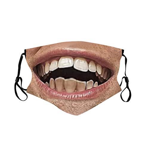 Sonojie Baumwolle Halstuch Gesichtsmaske Männer und Frauen 3D lustige Ausdruck Druck Anti-Verschmutzung Anti-Spritzer Erwachsenen Sonnenschutz multifunktionalen Stirnband Schal Sturmhaube Laufen