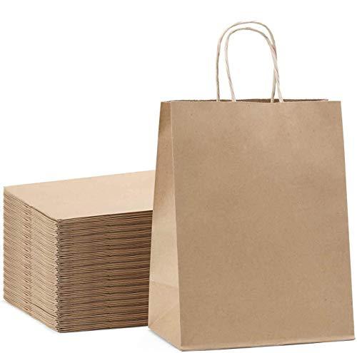 Switory 25pc Kraft Papiertüte mit Griff, 20cm x 12cm x 26,5cm Brown Shopping Geschenkbeutel für Partybevorzugung, Verpackung, Anpassung, Tragen, Einzelhandel, Waren, Hochzeit