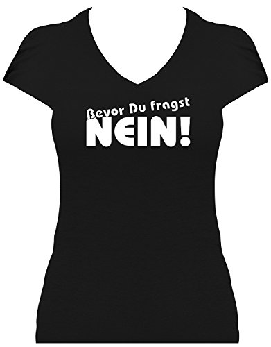 Fun Shirt Premium Sprüche Damen Glitzeraufdruck Bevor Du fragst Nein!, T-Shirt, Grösse XXL, Druck weiß