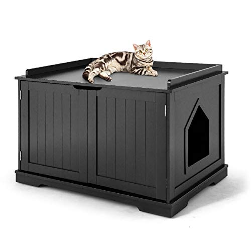 Tangkula Nightstand Pet House, Decorative Cat House, Cat Home Nightstand with Double Doors, Litter Box Furniture, Indoor Pet Crate, Cat Washroom, Litter Box Enclosure (Black)