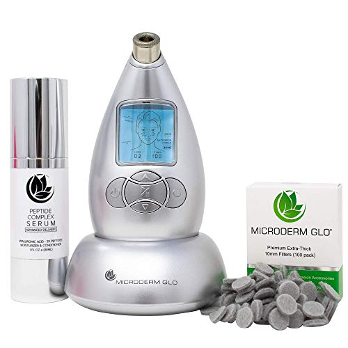 Microderm GLO Premium Skincare Bundle Includes Diamond Microdermabrasion System, 10mm Filters 100 pack, Peptide Complex Serum. Best Anti Aging Treatment Blackhead Remover and Pore Vacuum Kit (Silver)