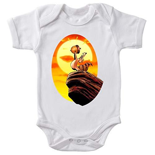 Okiwoki Body bébé Manches Courtes Blanc Parodie L'âge de Glace - Le Roi Lion et Scrat - Le Roi des Glands - Savane(Body bébé de qualité supérieure de Taille 6 Mois - imprimé en France)