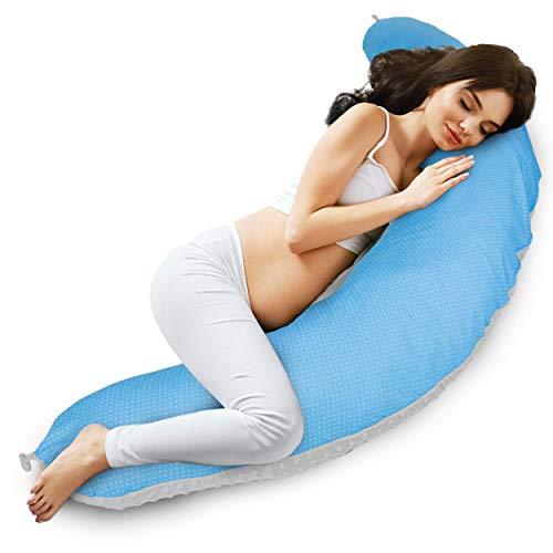 Almohada Embarazo cojin lactancia embarazada - almohadas Premama, Cojín maternal para Embarazadas dormir, cojines grande Reductor Cuna bebe Gris azul (Manchado Gris y blanco - algodón con visón gris)