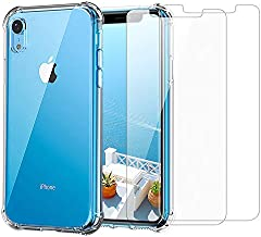 iPhone XR Clear Case & Screen Protector | 2 in 1 Bundle Package | 2 Tempered Glass Screen Protectors | Crystal Clear Transparent Soft Case | Shockproof Bumpers | Slim Fit | Compatible with iPhone XR