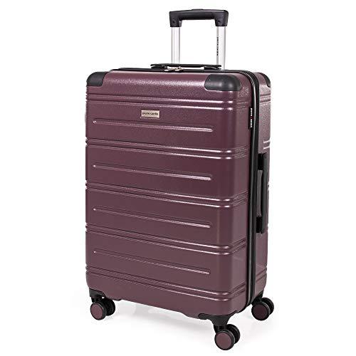 Pierre Cardin ABS maleta de carcasa dura – Equipaje de viaje con 8 ruedas giratorias | mango de arrastre telescópico | maleta de lado duro Lyon CL889 Morado ciruela Medium