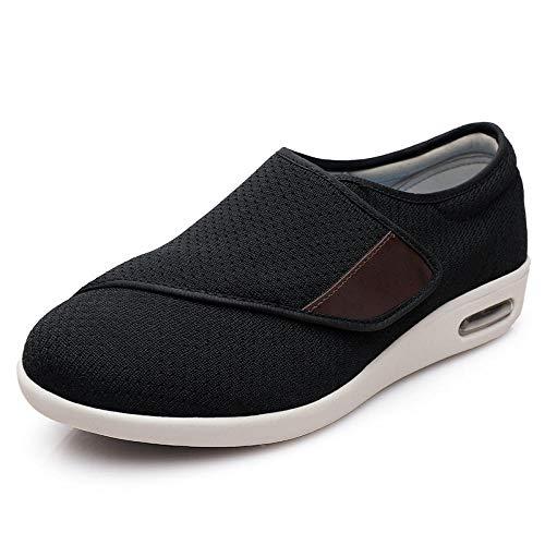 Cxypeng La Casa De Ajustables Zapatilla,Zapatos para Caminar ensanchados para Madres, Zapatos de Velcro Ajustables para Ancianos-Black_43,Zapatillas diabéticas Vendaje Zapatos