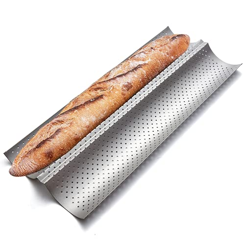 """KITESSENSU Nonstick Baguette Pans for French Bread Baking, Perforated 2 Loaves Baguettes Bakery Tray, 15""""x6.3"""", Silver"""