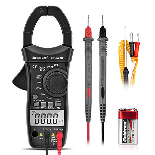 HOLDPEAK Digital Power Clamp Meter HP-570H Auto-ranging Multimeter for DC/AC Voltage Current&Watt,Resistance,Capacitance,Temperature,Frequency,Duty Cycle,Diode and Audible Continuity Test