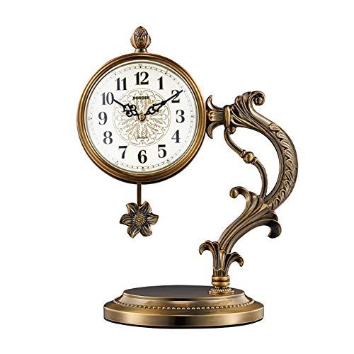 Reloj De Mesa Retro Europeo, Reloj De Recepción, Relojes De Escritorio del Reloj De La Vendimia, con Balanceo para Oficina, Decoración del Hogar, Regalo, Operado por Baterías,1