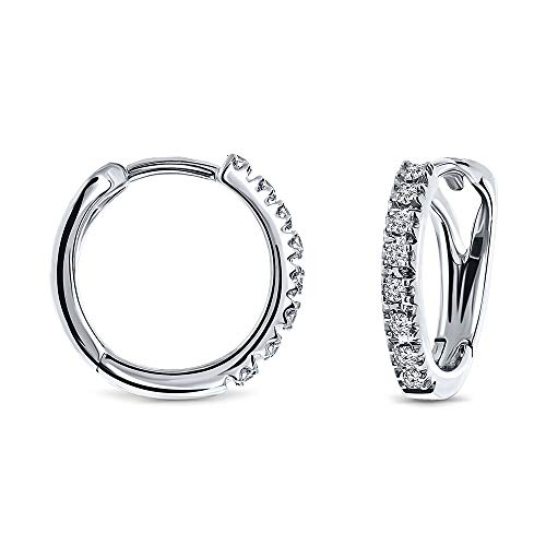 Miore Ohrringe Damen 0.10 Ct Diamant Creolen Weißgold 18 Karat / 750 Gold Ohrschmuck mit Diamanten Brillianten
