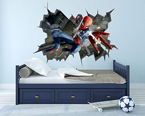 HUJL Wall Sticker The Amazing Spider Man Wall Hole 3D Decal Vinyl Stickers Decorate The Room