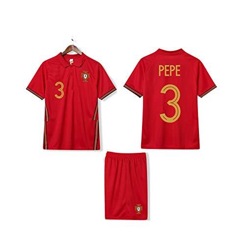 LCHENX Portugal Fußballmannschaft #3 Pepe Fan Soccer Jerseys Fußballtrikot-Sets Für Männerjungen,Rot,9 Years