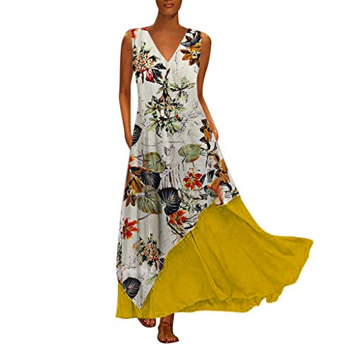 Great Features Of Women Boho Vintage Maxi Dress | Ladies Floral Print Short Sleeve V-Neck Long Dress...