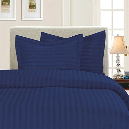 Pride Beddings - Juego de funda de edredón de 5 piezas de 5 piezas, diseño de rayas, tamaño matrimonial/Queen, color azul marino