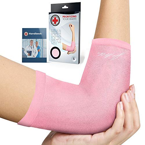 Doctor Developed Ladies Pink Elbow Compression Sleeve for Women and Doctor Written Handbook- RELIEF from Tennis/Golfers Elbow & Other Elbow Conditions - Excellent Customer Support (Medium)