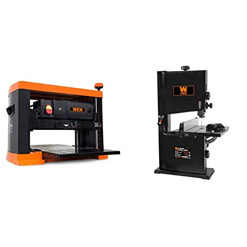 WEN 6552T 13 in. 15 Amp 3-Blade Benchtop Corded Thickness Planer & 3959 2.5-Amp 9-Inch Benchtop Band Saw