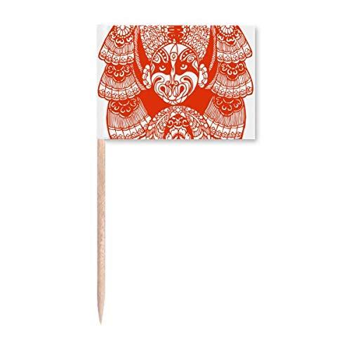 Red Peking Opernkopf Papierschnitt Zahnstocher Flaggen Marker Topper Party Dekoration