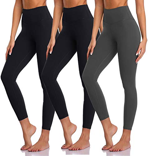 High Waisted Leggings for Women Yoga Tummy Control Workout Leggings Pack Soft Running Exercise Spandex Black Pants