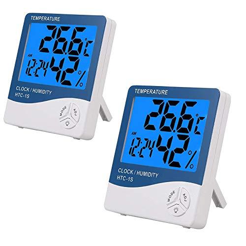 eSynic 2PCS Termómetro Higrómetro Digital con Gran LCD Medidor de Temperatura y Humedad con Luz de Fondo Termómetro interior Termómetro Exterior para Habitación Casa Oficina Interior y Exterior