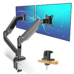 Dual Monitor Mount Stand Full Motion Gas Spring Monitor Arms for Two Screens By Metiya