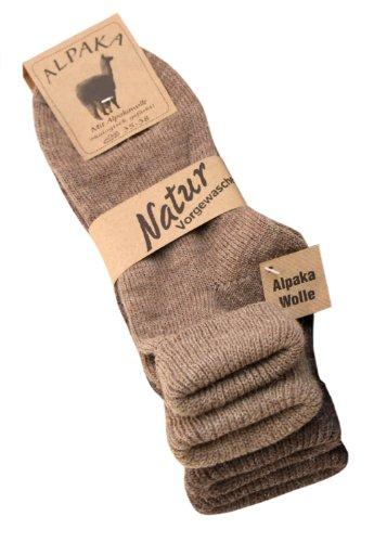 2 Paar Alpaka Socken Damen mit Umschlag, 2 Farben, Gr. 39-42