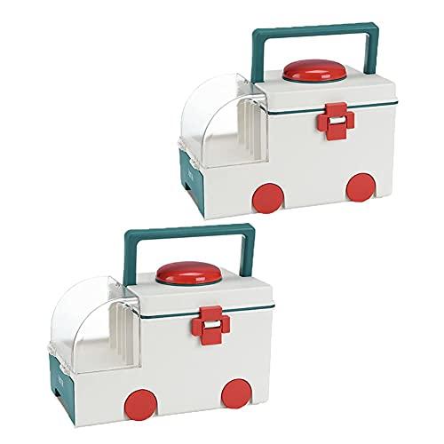 DLILI Caja de Almacenamiento de Medicina portátil de 2 Piezas Caja de Almacenamiento de Medicina Caja de Medicina de Dos Capas en Forma de Coche para el hogar y al Aire Libre Estuche de almacenami