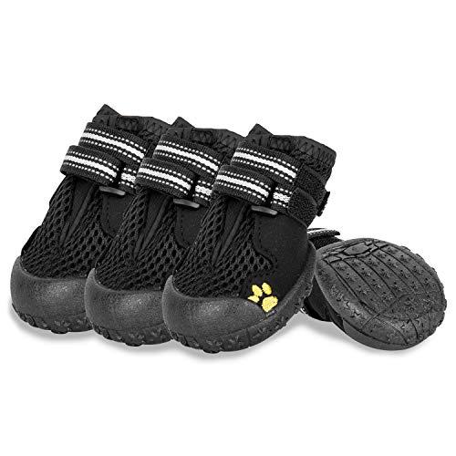 Hengu Botas Protectoras de la Pata del Perro, Zapatos Antideslizantes para Mascotas con Diseño de Hebilla Nylon para Escalada, Largas Caminatas, Caminata de Invierno