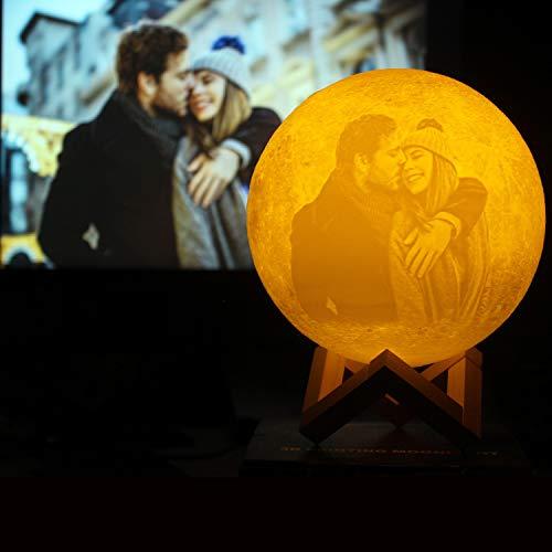 Lámpara de luna personalizada Foto impresa en 3D Luz nocturna creativa romántica con soporte y control táctil y USB recargable como regalo para él / ella Día de San Valentín 5.9 16 colores