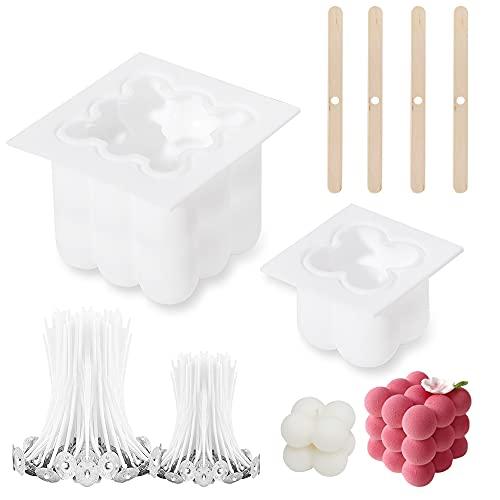 Kerzenform silikon,kerzen selber machen,lebensmittelechtes silikon,pralinen muttertag,pralinen vatertag,bubblie Candle,3D Cube Kerzen Formen, Basteln von Bienenwachs-2PCS