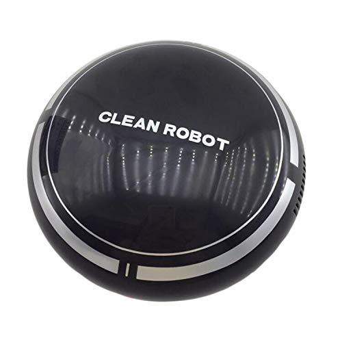 Robot aspirador con función de limpieza, robot automático 2 en 1, limpieza en húmedo hasta 180 m², para suelos duros, protección contra caídas, sin bolsa, con base de carga (negro)