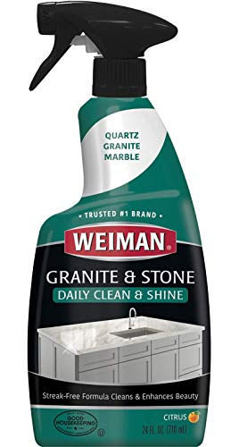 Weiman Granite Cleaner and Polish for Daily Use, Streak-Free Formula for Countertops, Marble, Quartz, Laminate, and Tile (24 Fl Oz)