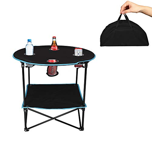 LUCKYERMORE Camping Table Outdoor Folding Ultralight Round Table with 4 Cup Holders and Storage Rack, for BBQ Picnic Beach