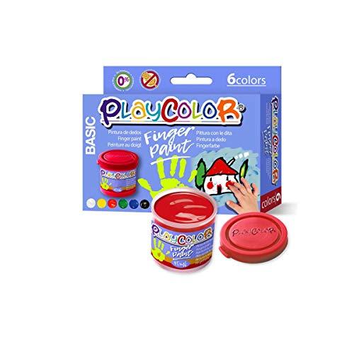 Lot de 6 Pots de Peinture au Doigt - 40 ml. Couleurs Assorties - Finger Paint Basic - Playcolor -...